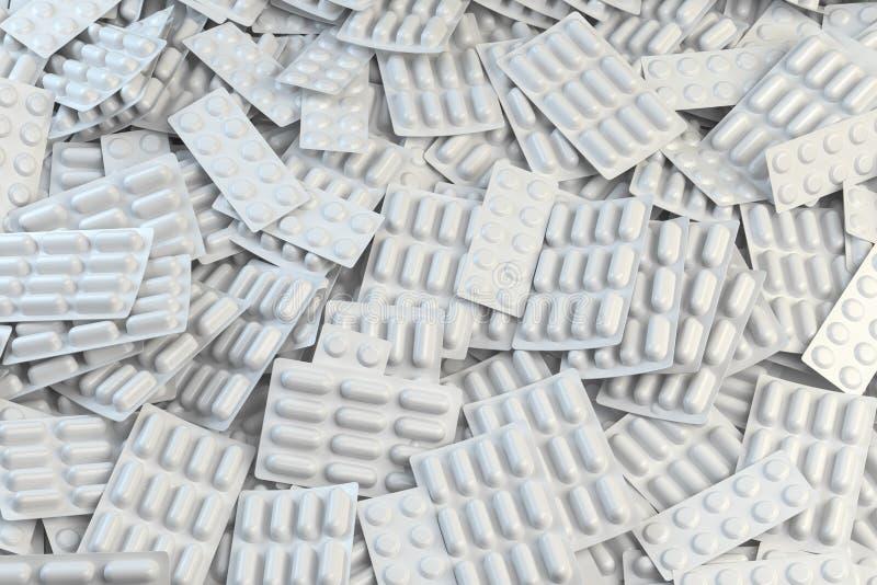 Achtergrond van blaren met capsules en pillen Medicijn en apotheekconcept stock illustratie