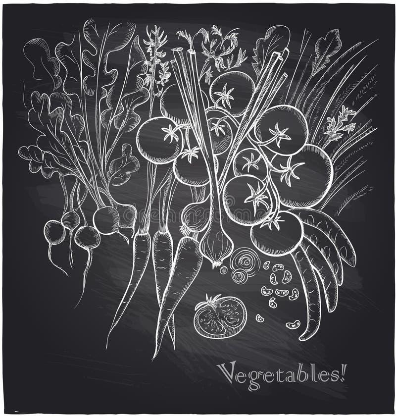 Achtergrond van bord de hand getrokken groenten stock illustratie