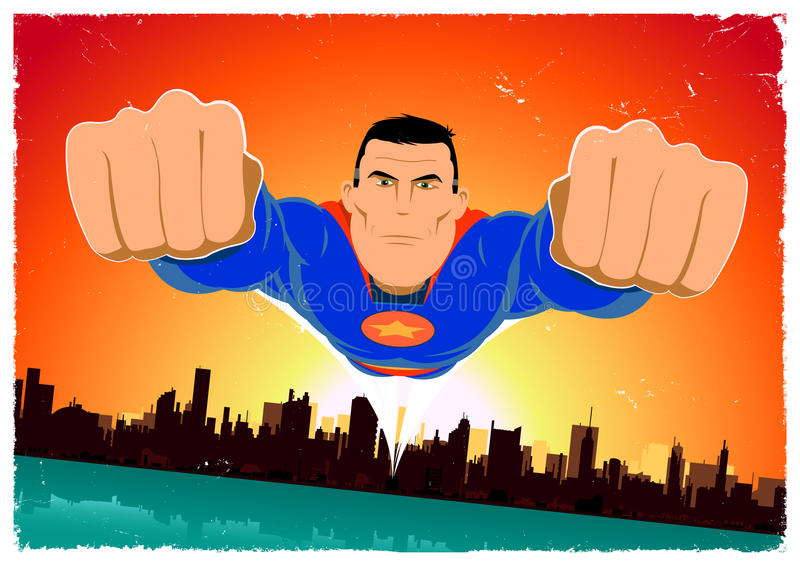 Achtergrond van de Affiche van de Held van Grunge de Super stock illustratie