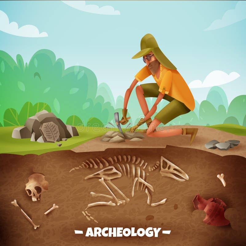 Achtergrond van de archeologen de Openluchtexpeditie stock illustratie