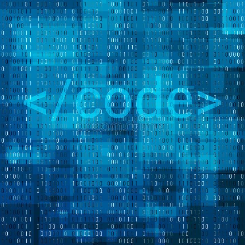 Achtergrond van de binaire code de digitale technologie Computergegevens door 0 en 1 Algoritme Binaire Gegevens Code, Decryptie e royalty-vrije illustratie