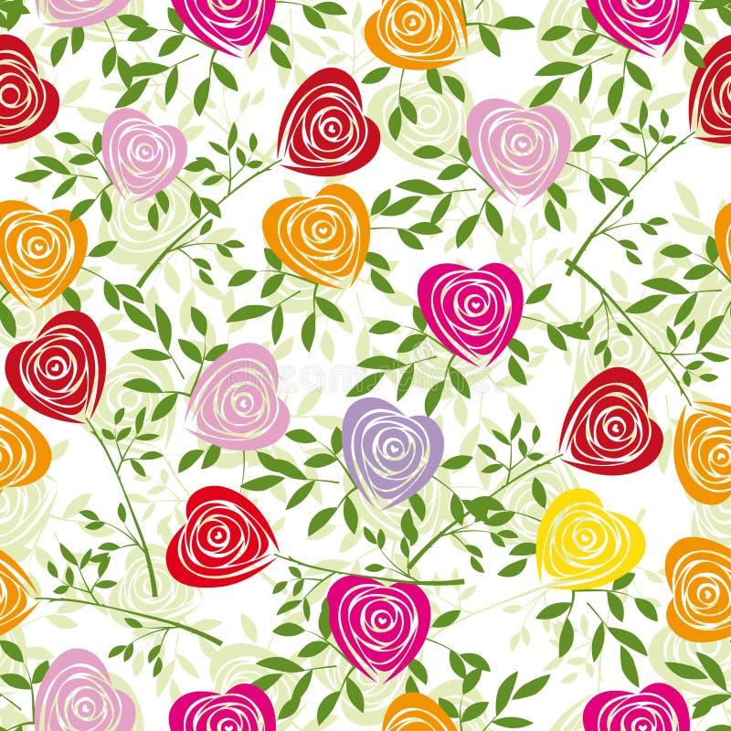 Achtergrond van de bloem met nam toe als hart. royalty-vrije illustratie