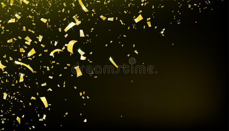 Achtergrond van de confettien de dalende motie Glanzend gouden vliegend klatergoud voor partij royalty-vrije illustratie