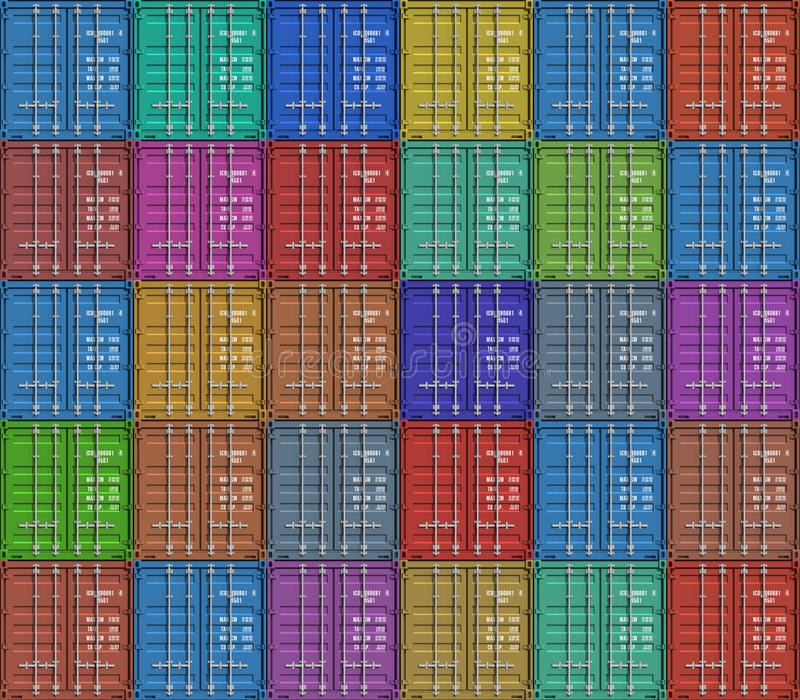 Achtergrond van de containers van de kleurenlading vector illustratie