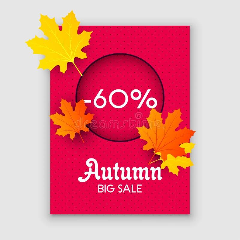 Achtergrond van de dalingsbladeren van de de herfstverkoop de gele De kleurrijke vector van de het elementenbanner van de geblade royalty-vrije illustratie