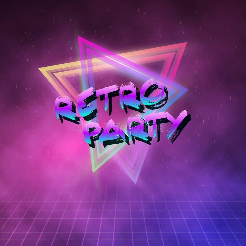 1980 Achtergrond van de de Discojaren '80 van de Neonaffiche Retro in Tron-stijl w wordt gemaakt dat royalty-vrije illustratie