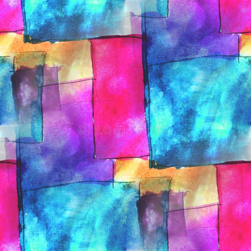 Achtergrond van de de handverf van de kunst de blauwe, roze avantgarde royalty-vrije illustratie