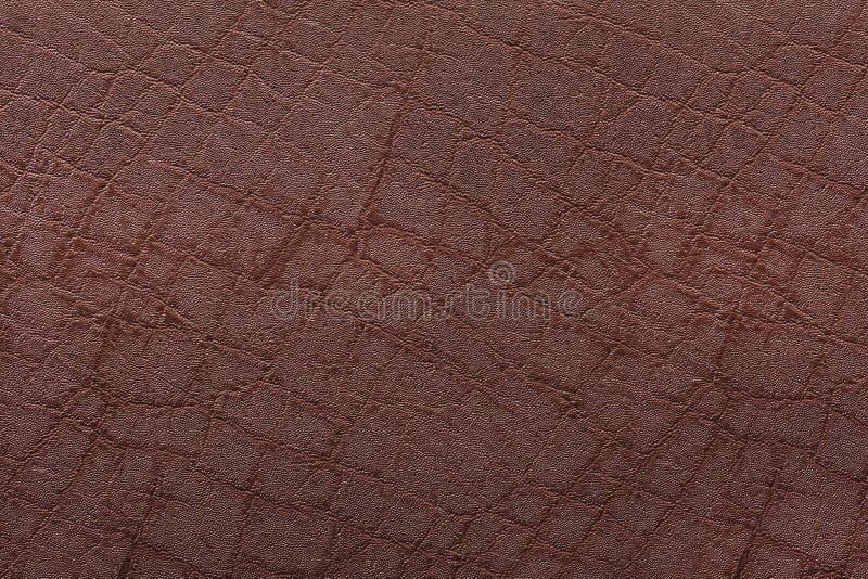 Achtergrond van de de textuurclose-up van het close-up de Bruine leer stock fotografie