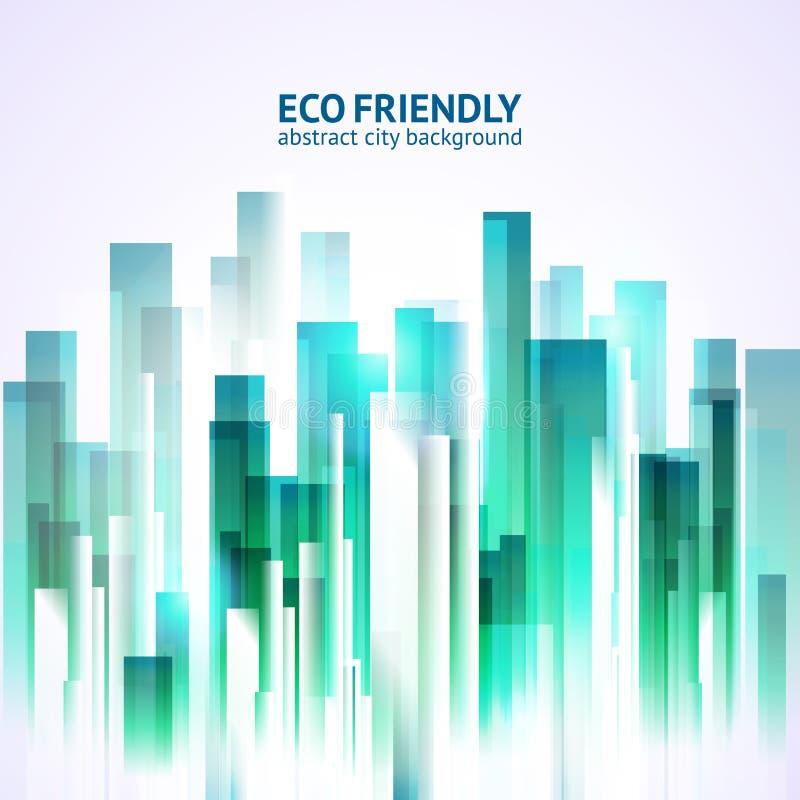 Achtergrond van de Eco de vriendschappelijke abstracte stad royalty-vrije illustratie