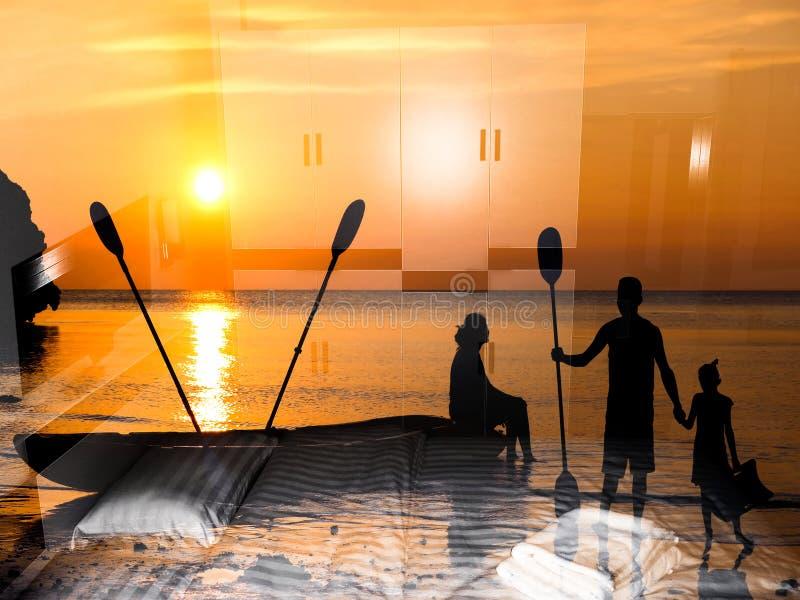 Achtergrond van de familie de kayaking verbeelding royalty-vrije stock afbeeldingen