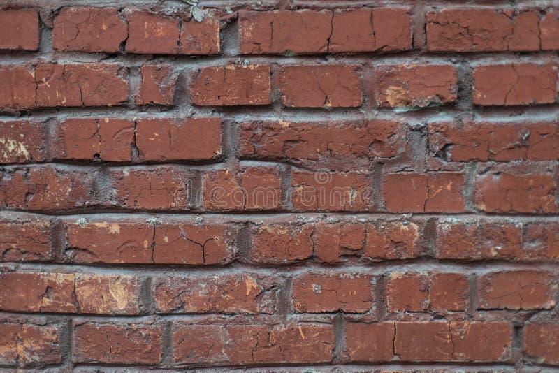 Achtergrond van de Grunge de industriële rode bakstenen muur in Kyiv, de Oekraïne stock afbeelding