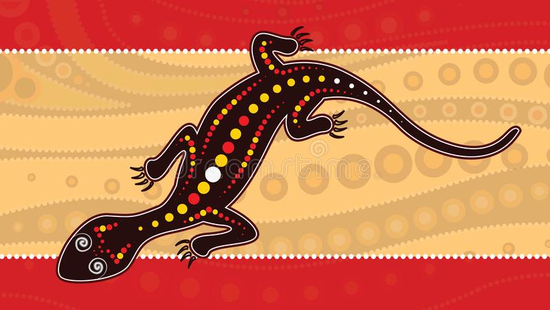 Achtergrond van de hagedis de vector, Inheemse die kunst met hagedis, Landschapsillustratie op inheemse stijl van punt het schild royalty-vrije illustratie