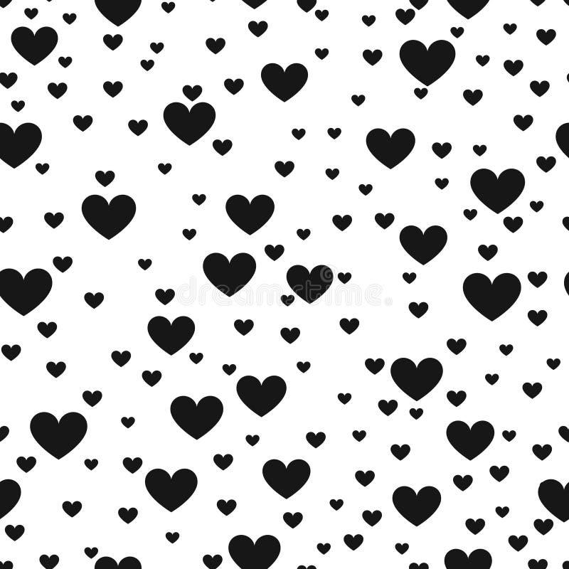 Achtergrond van de hart de zwart-witte vectordruk voor het productomslag van de websiteliefde stock illustratie