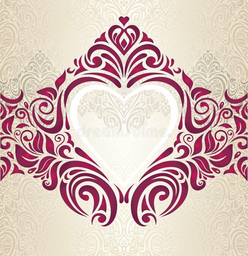 Achtergrond van de huwelijks de Rode en Gouden uitstekende uitnodiging royalty-vrije illustratie