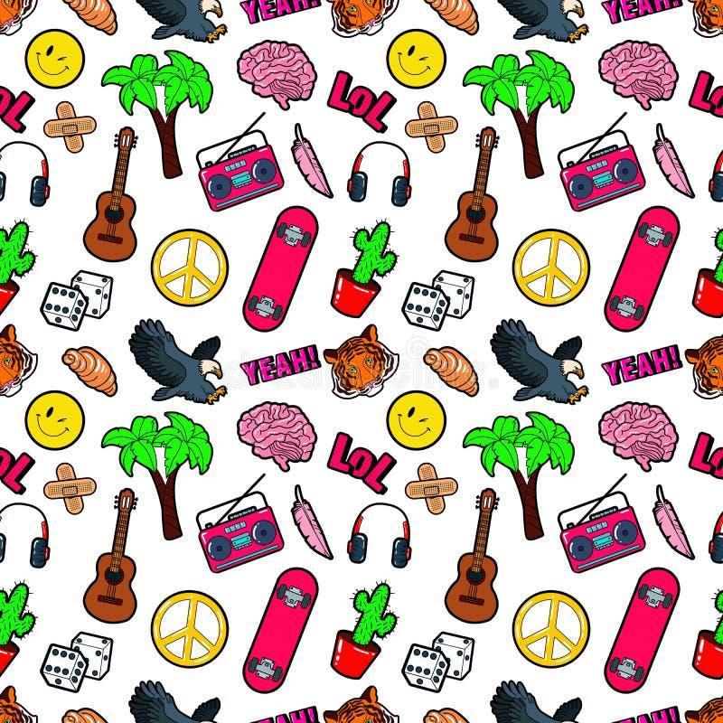 Achtergrond van de manier de Naadloze Grappige Stijl met Hersenen, Lol, Cactus, Gitaar en Palm royalty-vrije illustratie