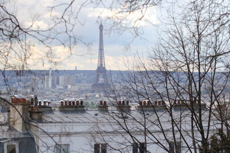 Achtergrond van de mening van het stadslandschap, de winter, Parijs, Frankrijk stock afbeelding