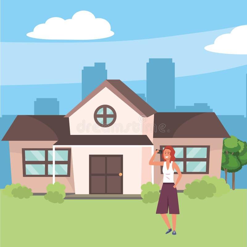 Achtergrond van de Millenial de binnenshuis voorportiek vector illustratie