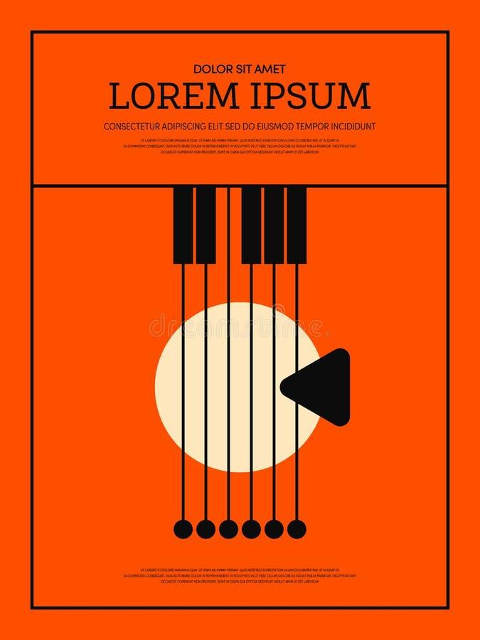 Achtergrond van de muziek retro uitstekende affiche stock illustratie