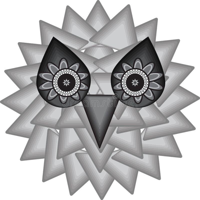 Achtergrond van de mystieke uil royalty-vrije illustratie