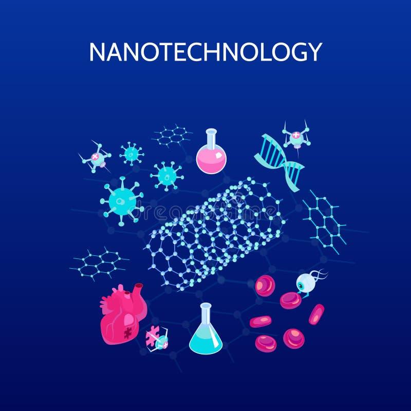 Achtergrond van de nanotechnologie de Isometrische Kleur stock illustratie