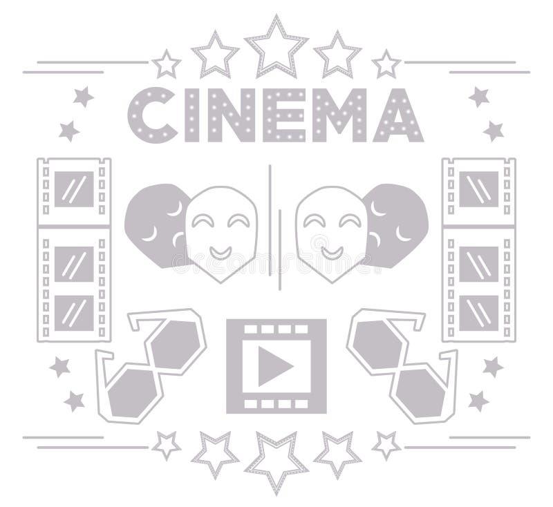 Achtergrond van de productiehulpmiddelen van de bioskoop de korte film vector illustratie