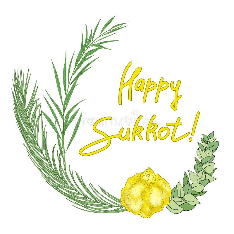 Achtergrond van de Sukkot de Joodse vakantie royalty-vrije illustratie