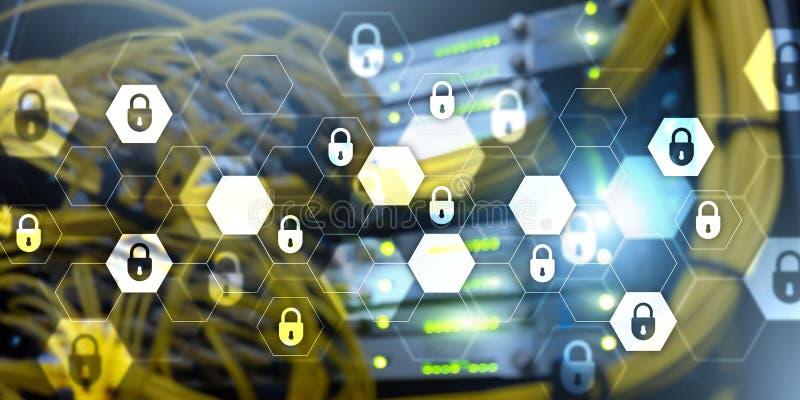 Achtergrond van de de technologiebanner van de Cyberveiligheid de abstracte Gegevensbescherming, informatieprivacy vector illustratie
