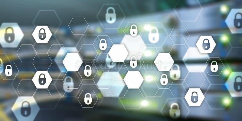 Achtergrond van de de technologiebanner van de Cyberveiligheid de abstracte Gegevensbescherming, informatieprivacy royalty-vrije illustratie