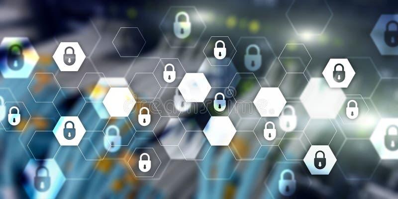 Achtergrond van de de technologiebanner van de Cyberveiligheid de abstracte Gegevensbescherming, informatieprivacy stock illustratie