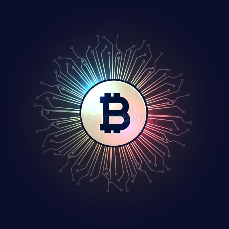 Achtergrond van de de technologiestijl van de Bitcoins de digitale munt vector illustratie
