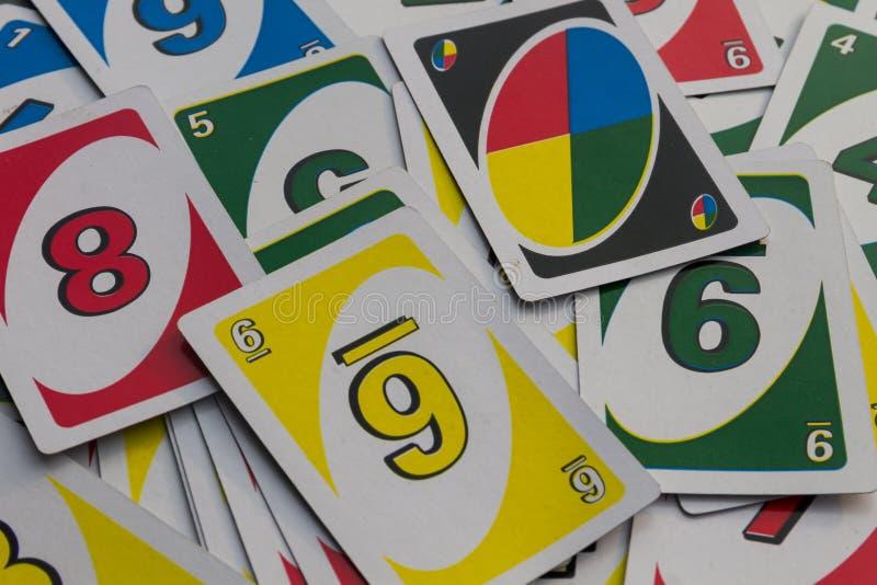 Achtergrond van de Uno speelkaarten Amerikaans kaartspel royalty-vrije stock foto's