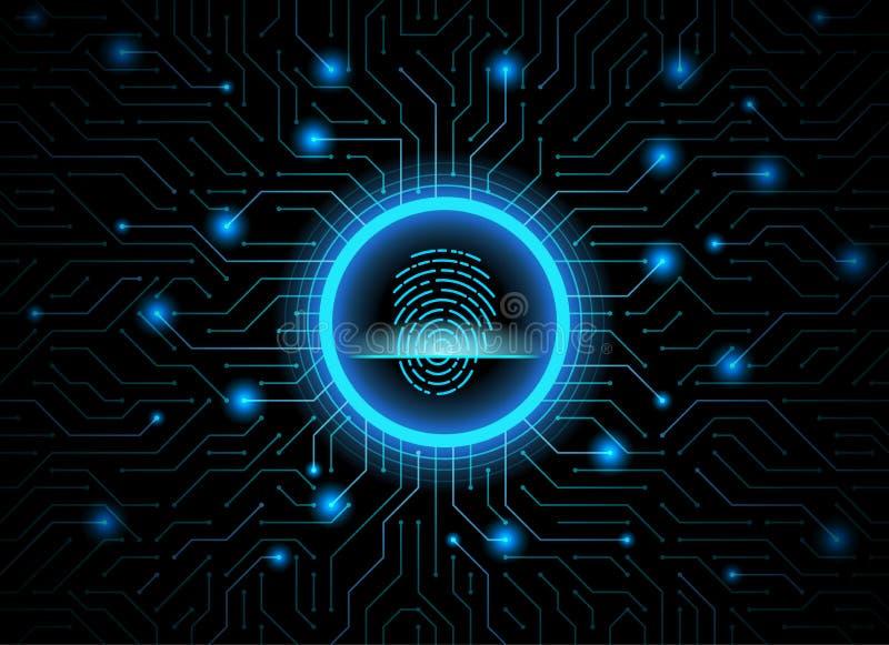 Achtergrond van de de vingerafdruk de donkerblauwe abstracte digitale conceptuele technologie van de Cyberveiligheid Computertech stock illustratie