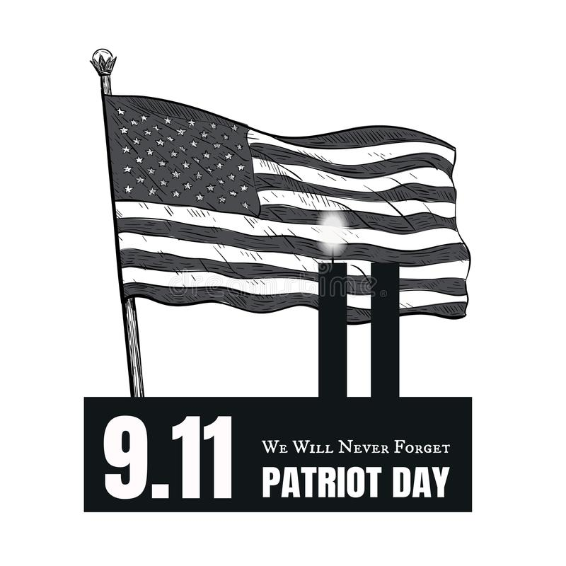 Achtergrond van de Vlagstrepen van de patriotdag de Amerikaanse royalty-vrije illustratie
