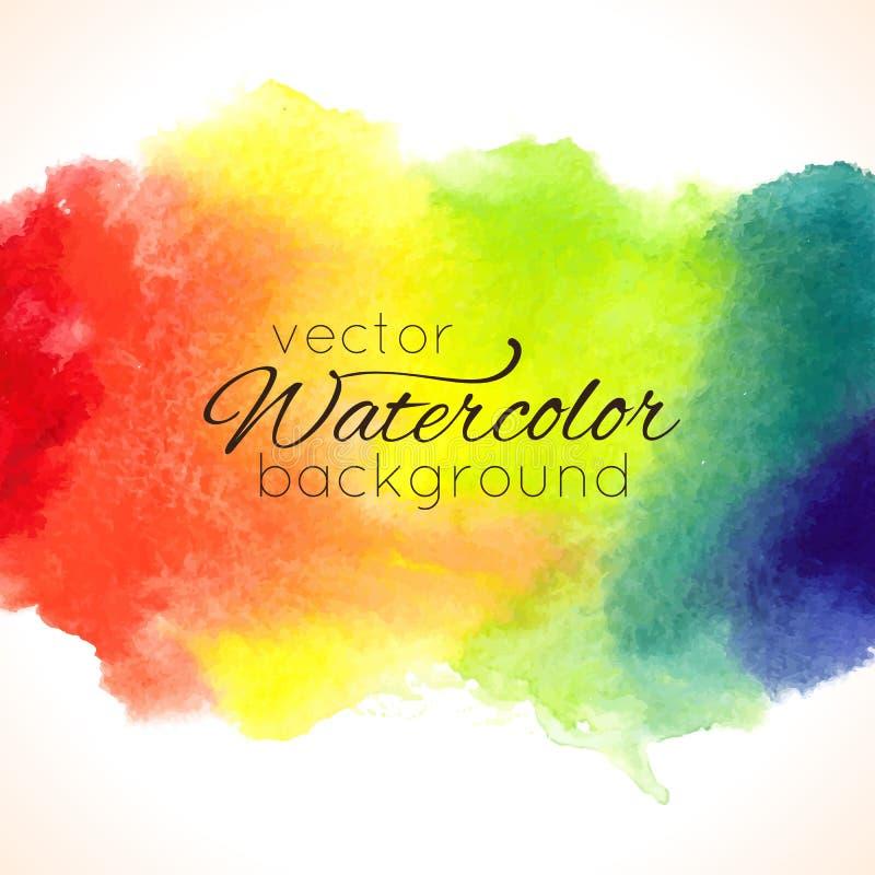 Achtergrond van de waterverf de hand geschilderde regenboog stock illustratie