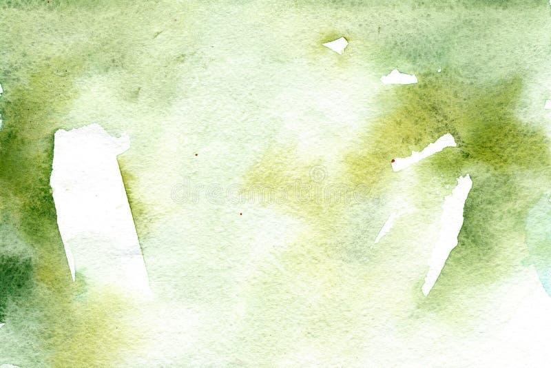 Achtergrond van de waterverf de groene gradiënt met natuurlijke document textuur stock illustratie