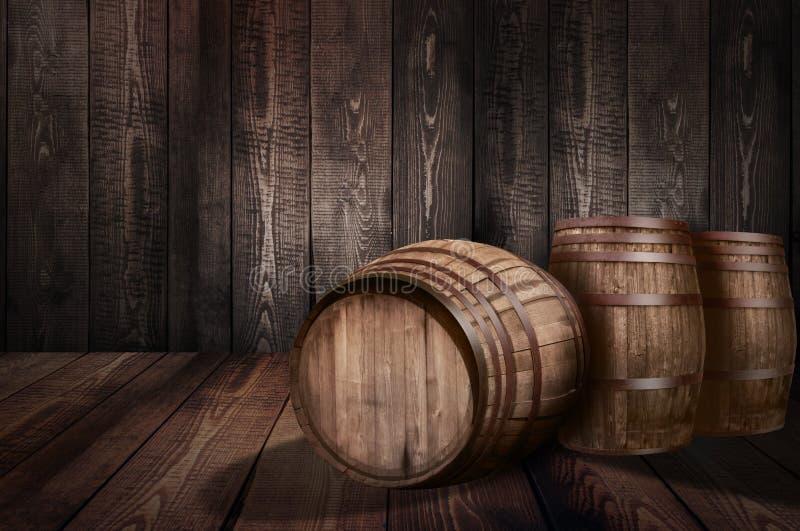 Achtergrond van de wijnmakerijbier van de vatwhisky royalty-vrije stock foto