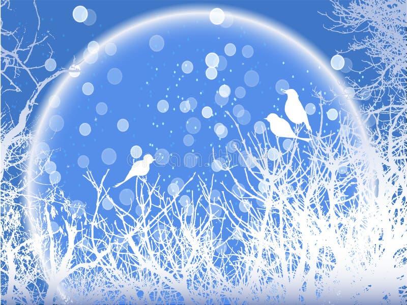 Achtergrond van de winter sneeuwbomen met vogels en sneeuwvlokken stock illustratie
