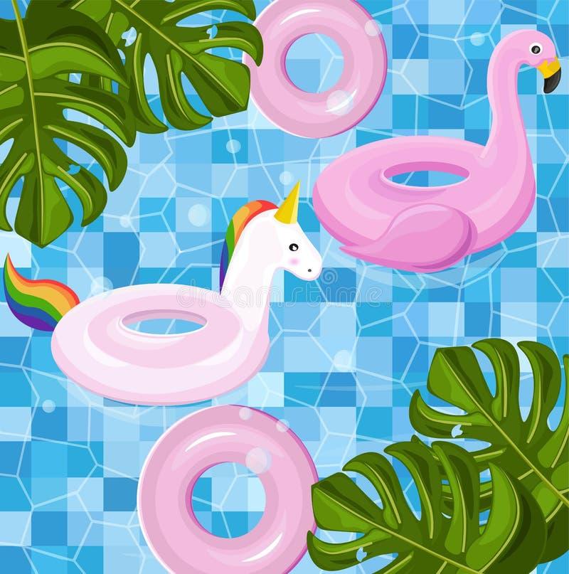 Achtergrond van de de zomerkaart van het pool de drijvende speelgoed Vector Tropische seizoenmalplaatjes royalty-vrije illustratie