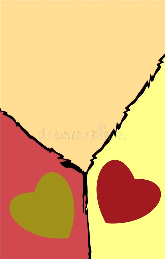 Achtergrond van drie gekleurde delen met twee harten royalty-vrije illustratie