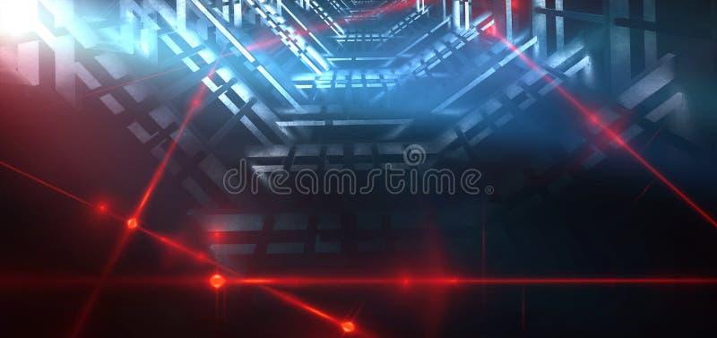 Achtergrond van een lege donker-zwarte ruimte Lege bakstenen muren, lichten, rook, gloed, stralen stock illustratie