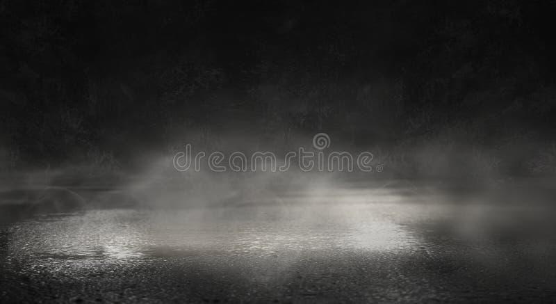 Achtergrond van een lege donkere ruimte Lege muren, lichten, rook, gloed, stralen stock foto's
