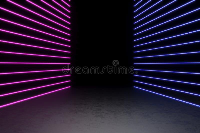 Achtergrond van een lege zwarte gang met neonlicht Abstracte achtergrond met lijnen en gloed het 3d teruggeven stock afbeelding