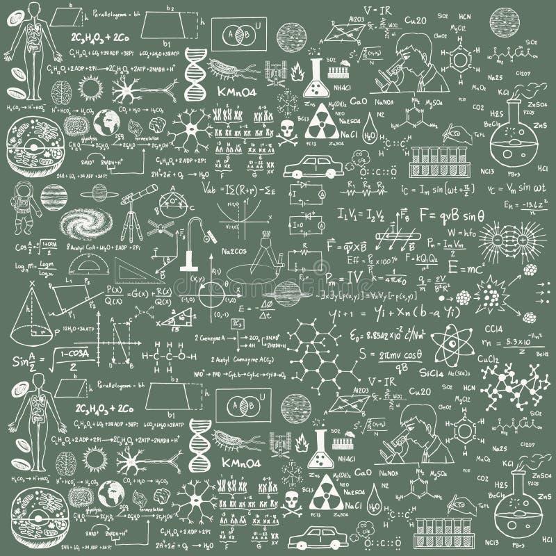 Achtergrond van een schoolraad met gekrabbel geschilderd krijt Een traditioneel beeld van chemie en algebra royalty-vrije illustratie