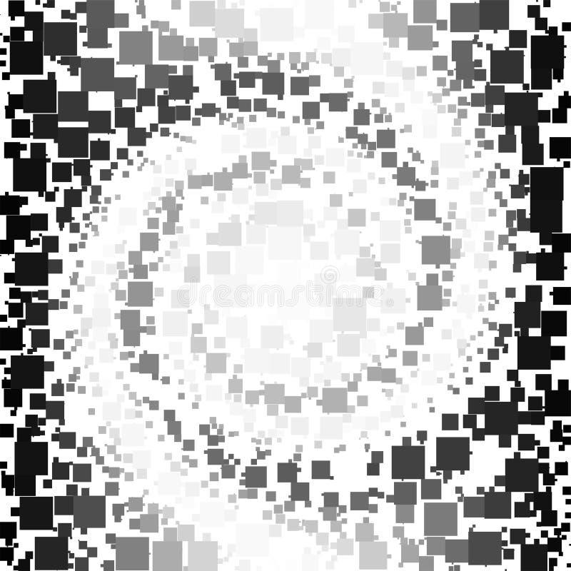 Achtergrond van een Spiraalvormige Zwart-witte Gradiënt en Vierkanten wordt gemaakt dat royalty-vrije illustratie