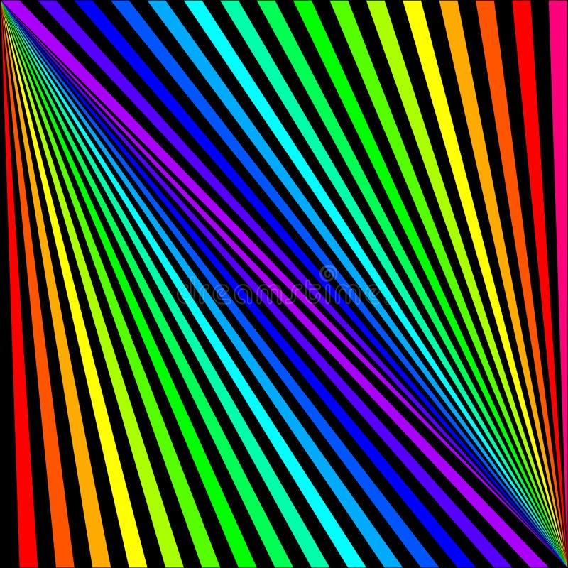 Achtergrond van gekleurde stralen diagonaal op een zwarte stock illustratie