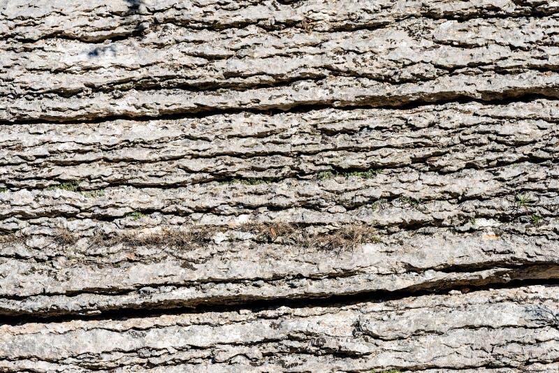 Achtergrond van Gelaagde Rots - Steen van Lessinia Italië royalty-vrije stock afbeelding
