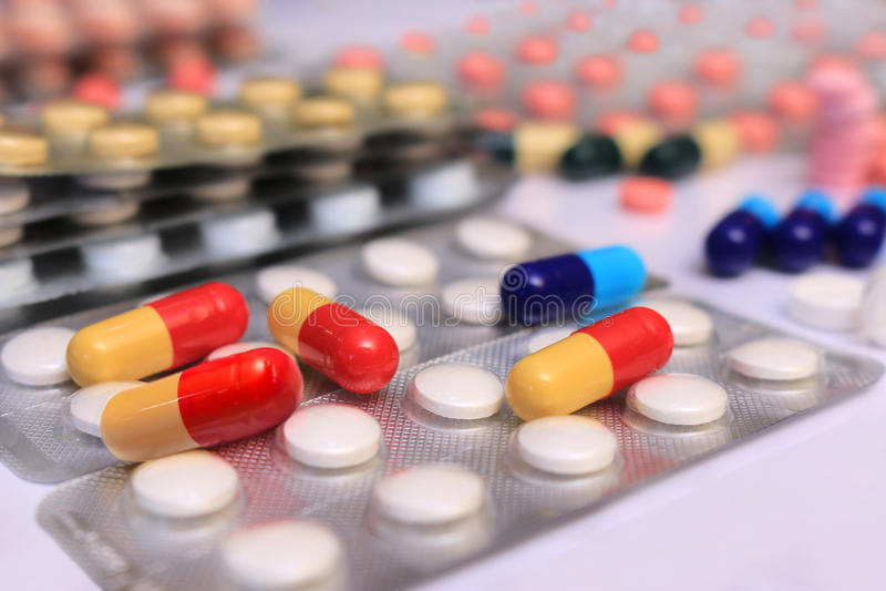 Achtergrond van geneeskrachtige tabletten royalty-vrije stock afbeeldingen