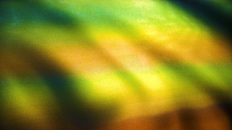 Achtergrond van gevormde gele stoffensimulatie Kleurrijke katoenen stoffenachtergrond Golven van stoffendoek in de wind royalty-vrije stock afbeelding
