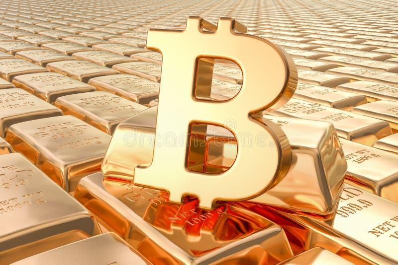 Achtergrond van gouden baren met bitcoinsymbool, het 3D teruggeven vector illustratie