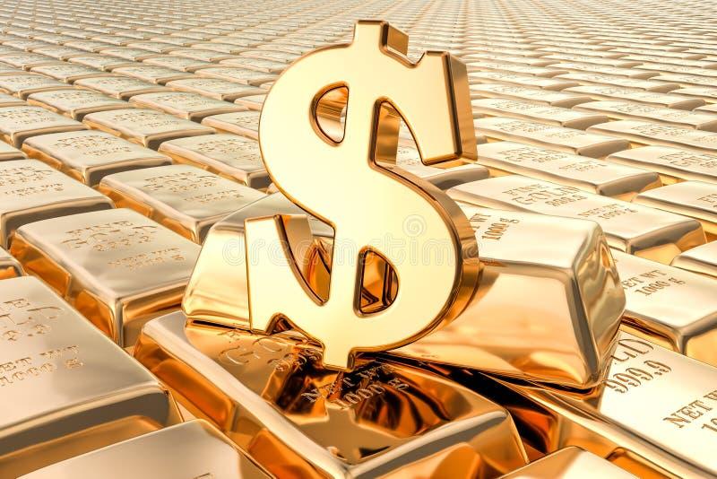 Achtergrond van gouden baren met dollarsymbool, het 3D teruggeven royalty-vrije illustratie